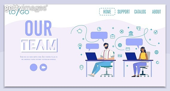 Company Call Center Team Flat Vector Web Banner