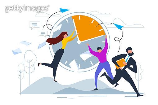 Cartoon Man Woman Stop Clock Hands Businessman Run