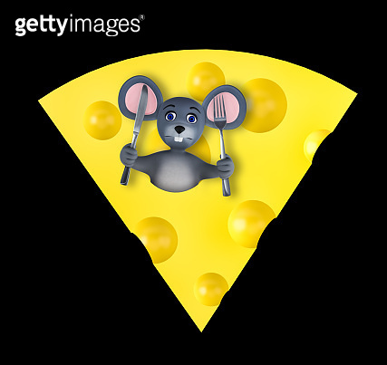Happy new year 2020 greeting card with cute mouse and cheese isolated on black. Animal wildlife holidays cartoon character. 3d render.