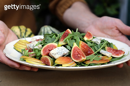 Fresh gourmet salad with figs