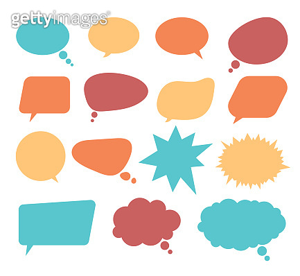 Speech bubble announcement communicate design elements isolated set. Vector flat cartoon graphic design illustration