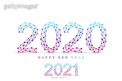 Text design Christmas and Happy new year 2020, 2021. Graphic background communication. Connected lines with dots. Design element for presentations, postcard, flyers, leaflets and posters, illustration