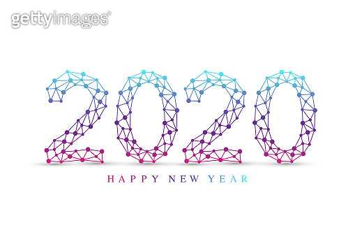 Text design Christmas and Happy new year 2020. Graphic background communication 2020. Connected lines with dots. Design element for presentations, postcard, flyers, leaflets and posters, illustration.