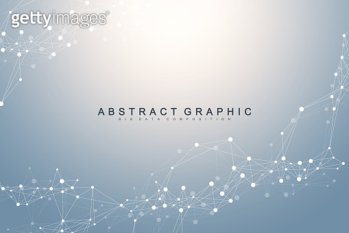 Geometric graphic background molecule and communication. Connected lines with dots. Minimalism chaotic illustration background. Concept of the science, chemistry, biology, medicine, technology vector
