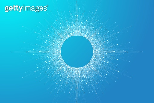 Expansion of life. Blue explosion background with connected line and dots, wave flow. Visualization Quantum technology. Abstract graphic background explosion, motion burst, vector illustration.
