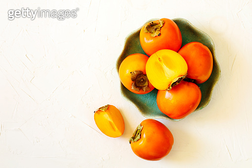 Delicious fresh persimmon fruits