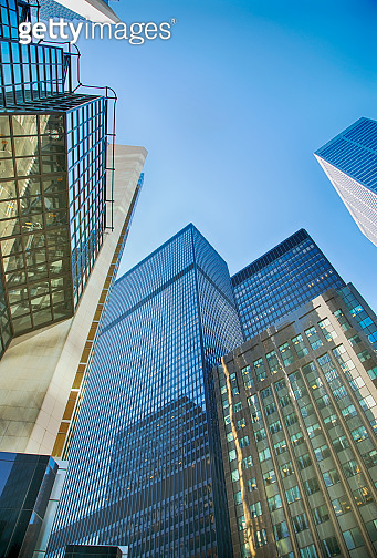 Skyscrapers in the financial district in downtown Toronto, Ontario, Canada.