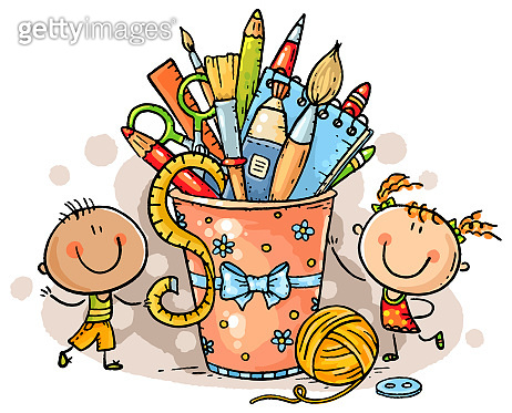 Creative kids with crafting tools, no gradients