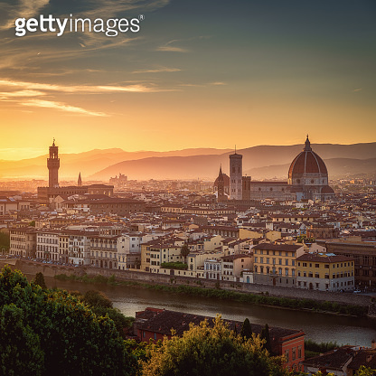 Florence city skyline at sunset, Italy. Aerial cityscape panoramic view from Piazzale Michelangelo
