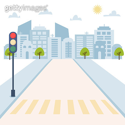 Cityscape with traffic light on the road, houses, skyscrapers. Vector illustration of urban background for poster, card, brochure