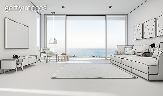 Sea view living room of luxury summer beach house with large glass door and wooden terrace. TV on white wall against big sofa in vacation home or holiday villa.