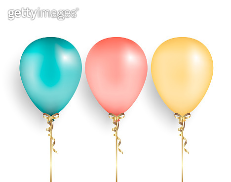Set balloons  with gold ribbon and bow