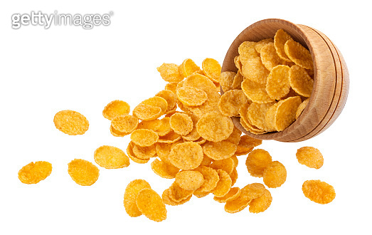 Scattered corn flakes isolated on white background with clipping path