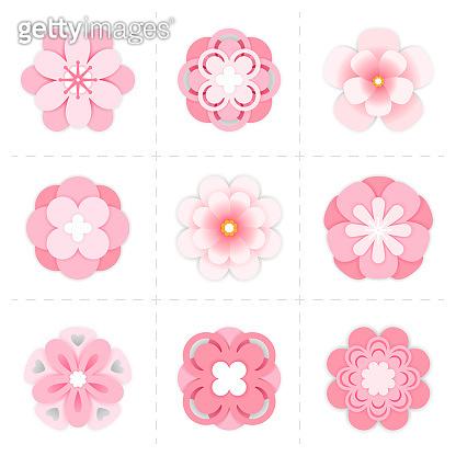 Pink paper sakura flowers