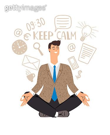 Businessman meditation icon