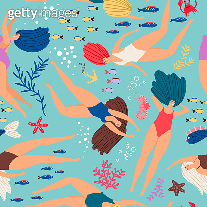 Swimmers girls underwater pattern with color fish