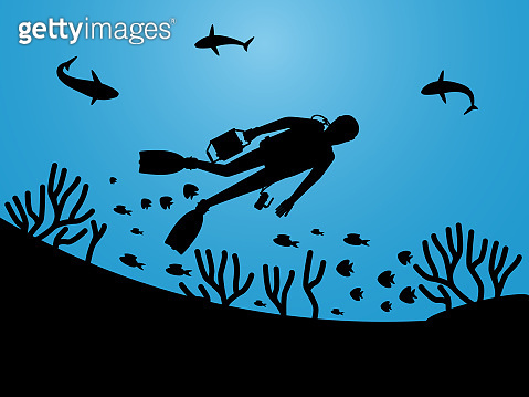 Undersea life silhouettes with scuba diver vector background