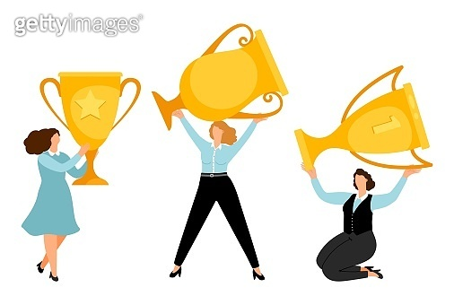 Girl power. Flat businesswomen with gold trophy vector illustration
