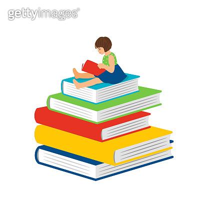 Cartoon reading little girl.