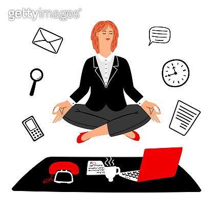 Work meditation vector concept. Businesswoman keeps calm on work place