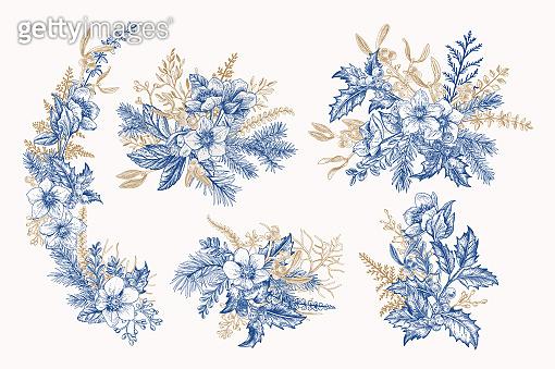 Blue vintage winter bouquets.