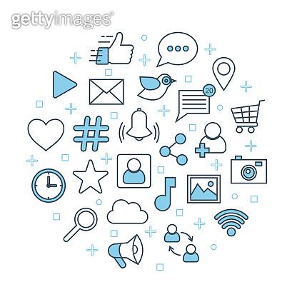 Social network poster. Thin line icons set marketing concept banner. Social media web symbols