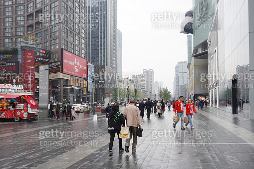 Rainy day at Chunxi Road commercial district at CHengdu.