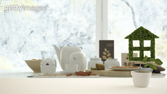 White table top or shelf with green plant in pot shaped like house, modern blurred table with breakfast background, interior design, real estate, eco architecture concept idea