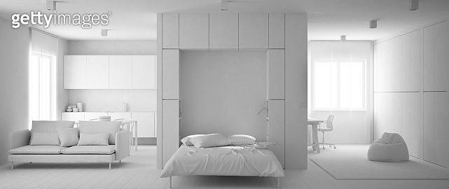 Total white project of murphy wall bed in one room apartment with kitchen, living room and home workplace, carpet fur, clean interior design, modern contemporary concept idea
