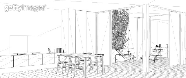 Blueprint project draft, sketch of minimalist living room with dining table, interior design concept idea, modern apartment with parquet floor, contemporary furniture