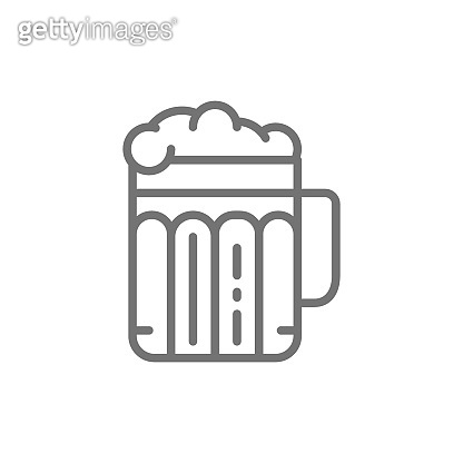 Pint of beer, alcohol, glass with drink line icon.