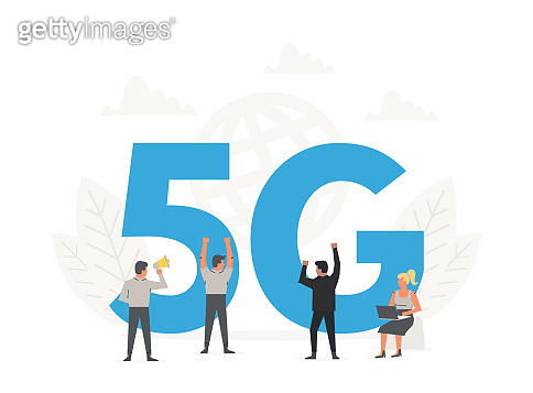 Office people standing around a big letters 5G. Fifth generation network wireless, internet technology