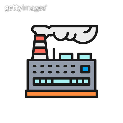 Vector industrial building factory, power plant flat color line icon.