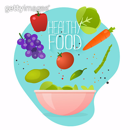 Concept of healthy lifestyle. Vector illustration of cooking salad  with bowl of fresh vegetable, healthy food. Flat design style modern vector illustration concept.