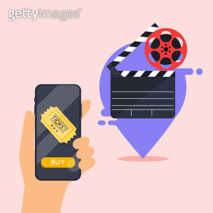 Flat design vector illustration concepts of online cinema ticket order. Hand holding mobile smart phone with online buy app. Vector modern flat creative info graphics design.