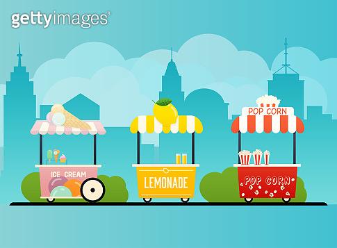 Street food cart. Urban landscape. Flat design modern vector illustration concept.
