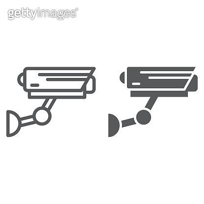 CCTV line and glyph icon, security and monitoring, surveillance camera sign, vector graphics, a linear pattern on a white background.