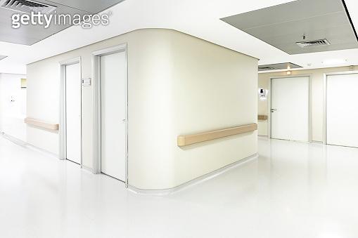 Empty Corridor In Modern Hospital