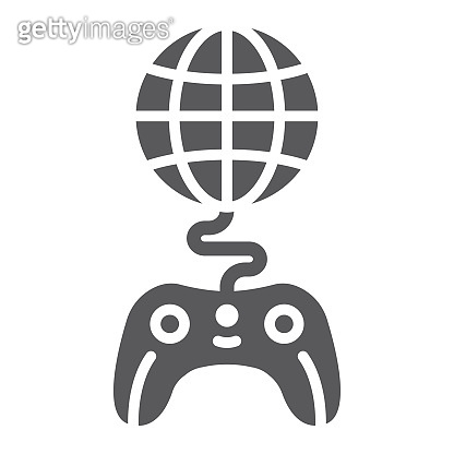 Global game glyph icon, play and world, globe with joystick sign, vector graphics, a solid pattern on a white background.