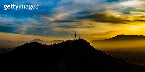 Sunset Scene Santiago de Chile Aerial View