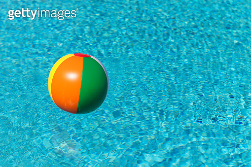 Inflatable toy ball in water