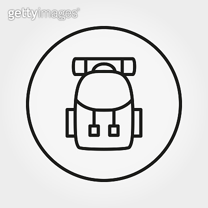 Backpack for hiking. Icon. Vector. Editable Thin line.
