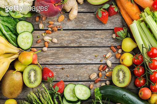 Assortment of alkaline diet food ingredients for cooking