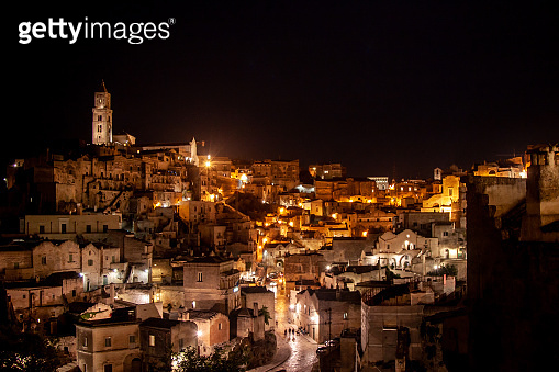 Matera skyline, panoramic view at night. European capital of culture, south Italy