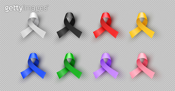 Colorful 3d cancer awareness ribbon isolated set