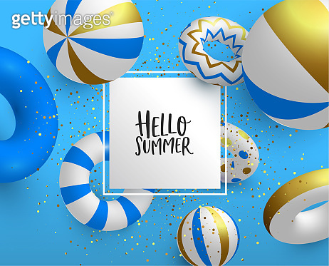 Holiday Summer card template of 3d gold life saver