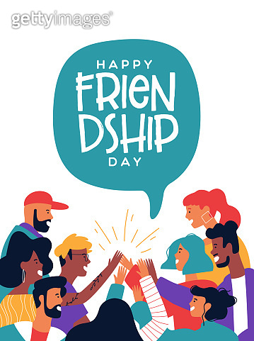 Friendship day poster of friends doing high five