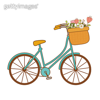 cute bicycle with basket and floral decoration