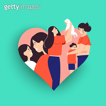 Single mother concept illustration with children