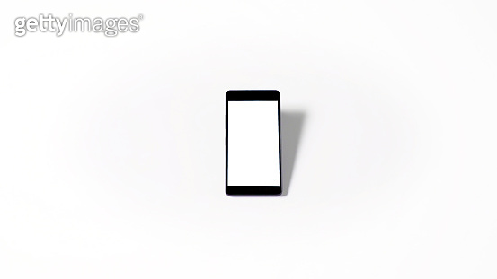 mobile phone with empty white screen and white background, isolated
